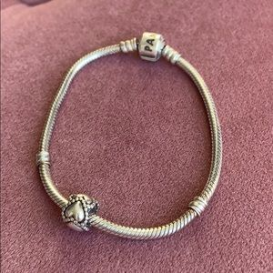 Pandora Bracelet + Heart Charm